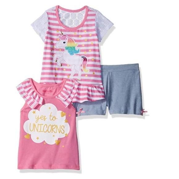 8249380905b4 Nanette Baby Matching Sets   Unicorn Nannette 3 Piece Top Short ...